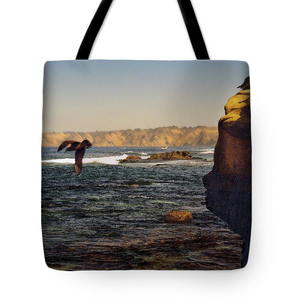 Ocean Tote Bag featuring the digital art Sea Cliff by Steve Karol