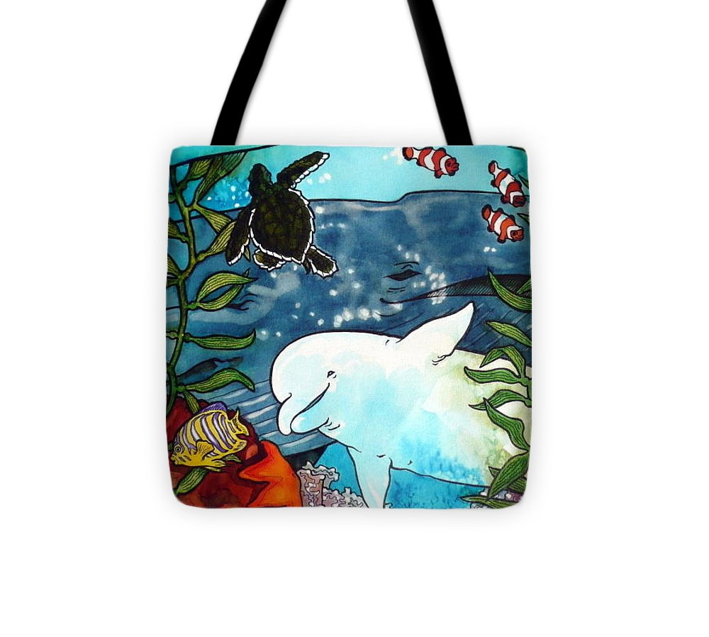 Whale Tote Bag featuring the painting Sea Fun by Jill Iversen