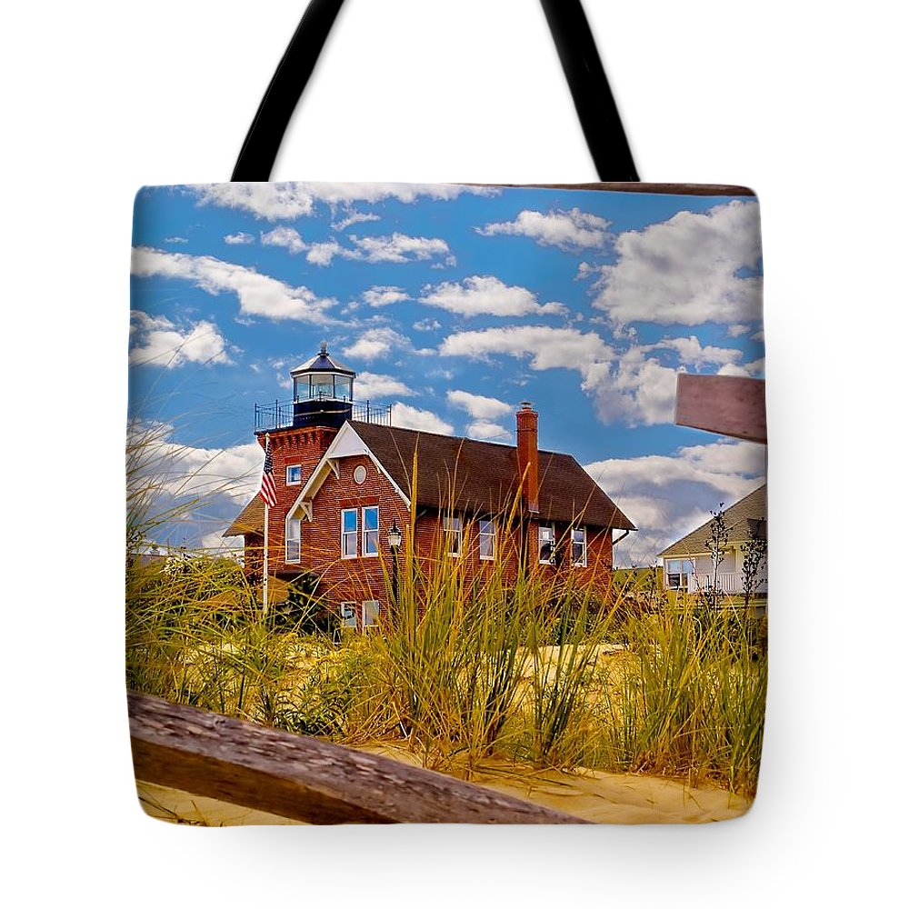 Brick Tote Bag featuring the photograph Sea Girt Lighthouse by Nick Zelinsky