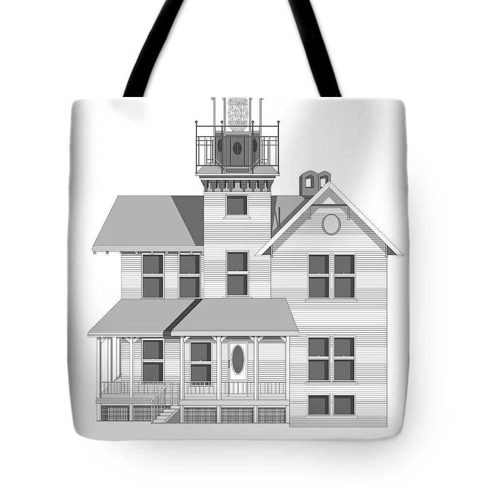 Lighthouse Tote Bag featuring the painting Sea Girt New Jersey Architectural Drawing by Anne Norskog