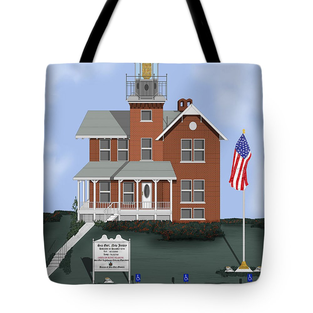 Lighthouse Tote Bag featuring the painting Sea Girt New Jersey by Anne Norskog