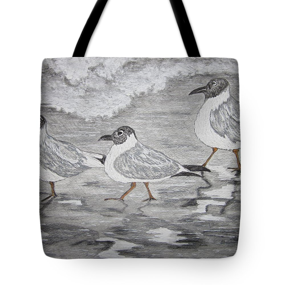 Sea Gulls Tote Bag featuring the painting Sea Gulls Dodging The Ocean Waves by Kathy Marrs Chandler
