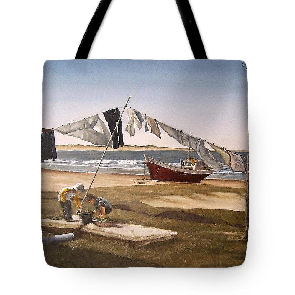 Kids Seascape Boat Painting Portrait Figurative Seascape Sea Tote Bag featuring the painting Sea Kids by Natalia Tejera
