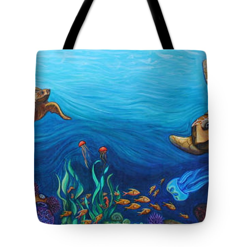 Sea Tote Bag featuring the painting Sea Life by Kate Fortin