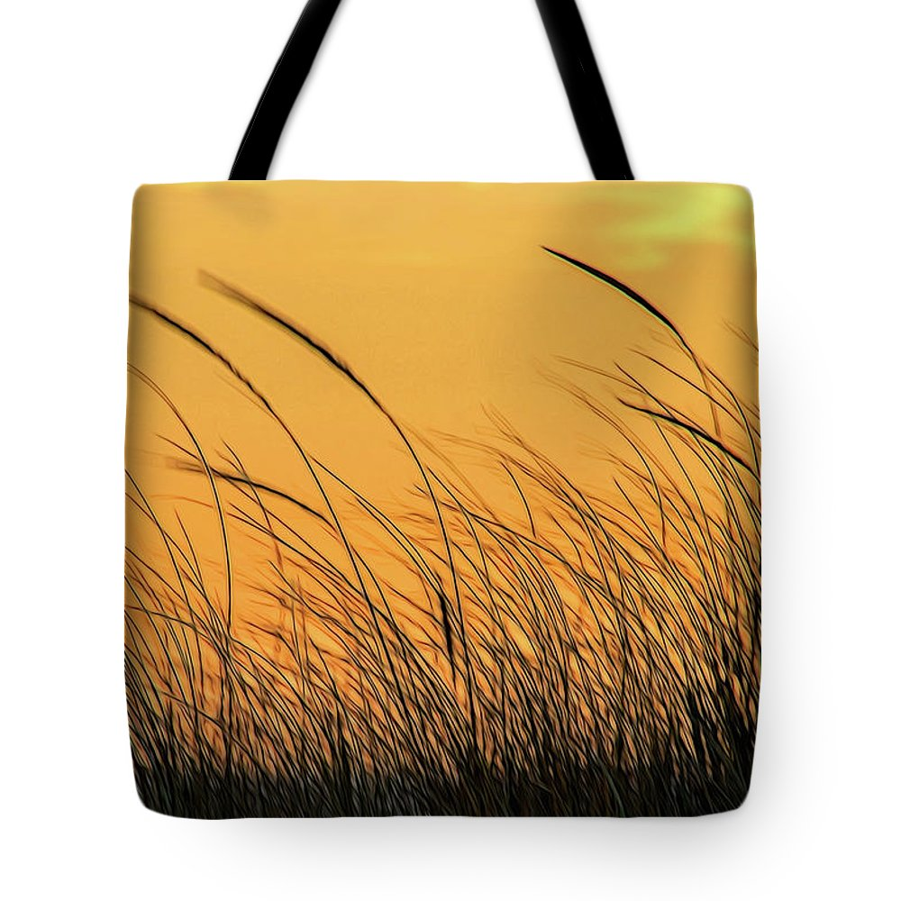 Sea Oats Tote Bag featuring the photograph Sea Oats At Dusk by Cathy Kovarik