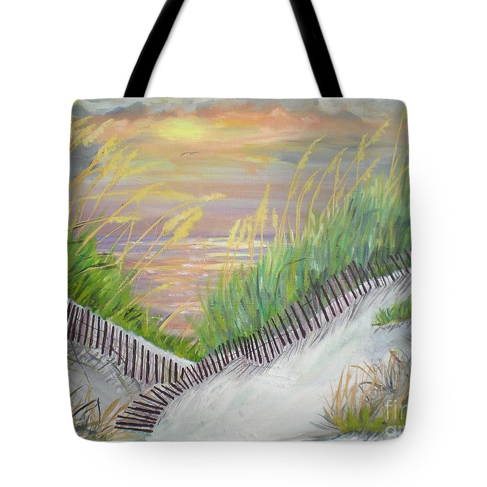Seascape Tote Bag featuring the painting Sea Oats by Hal Newhouser