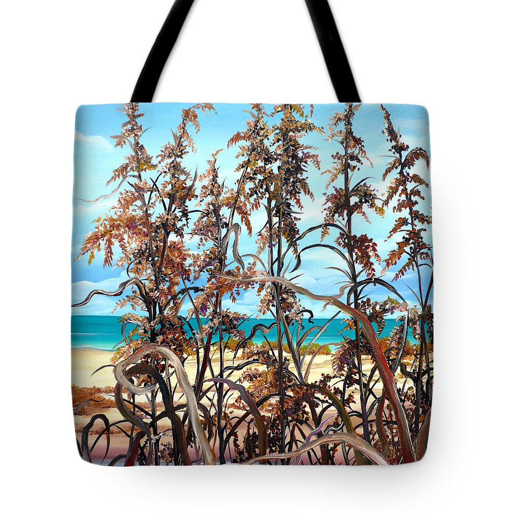 Ocean Painting Sea Oats Painting Beach Painting Seascape Painting Beach Painting Florida Painting Greeting Card Painting Tote Bag featuring the painting Sea Oats by Karin Dawn Kelshall- Best