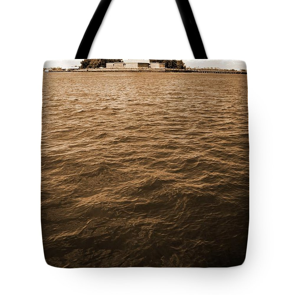 Statue Of Liberty Tote Bag featuring the photograph Sea Of Liberty by Mitch Cat
