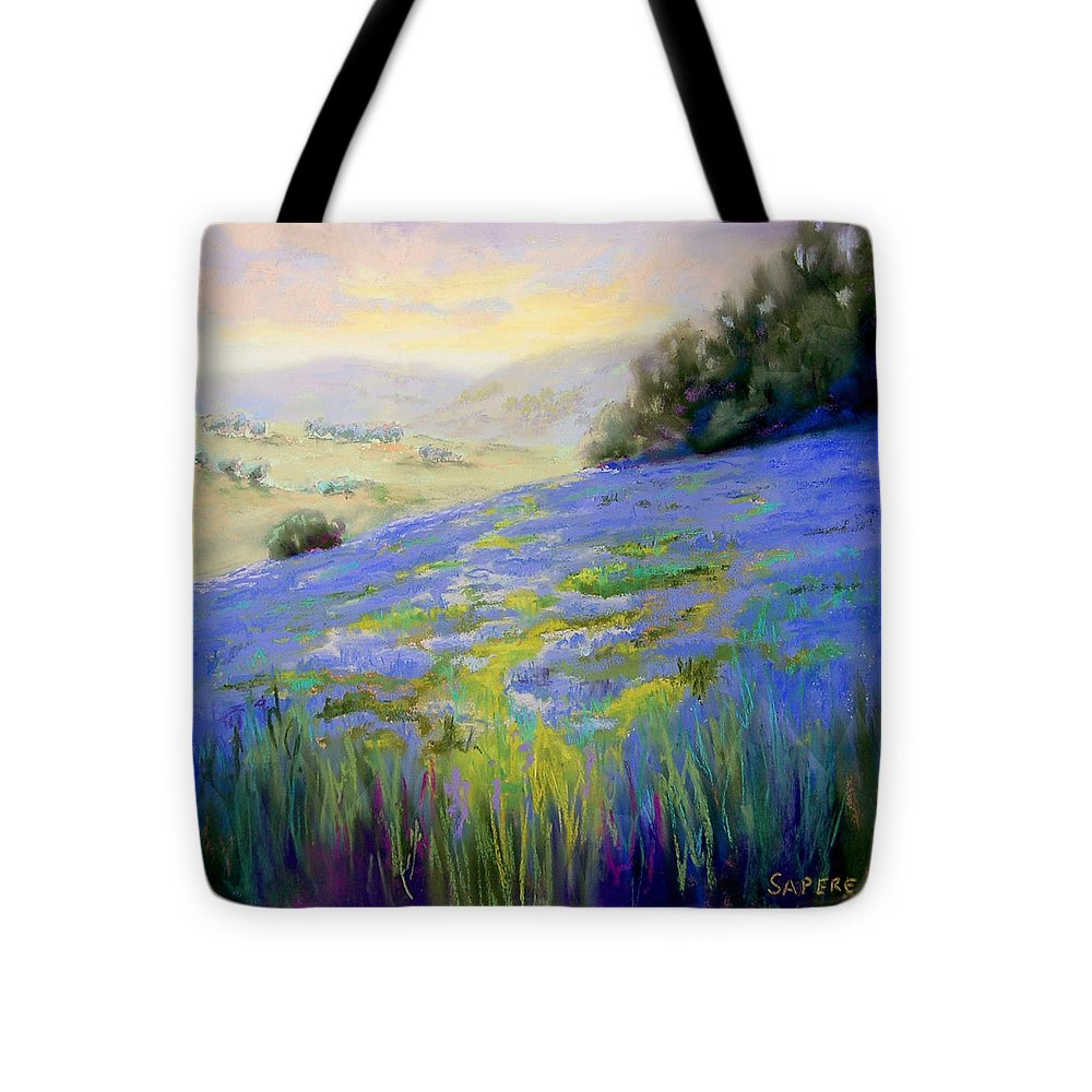 Lupine Tote Bag featuring the painting Sea of Lupines by Lynee Sapere
