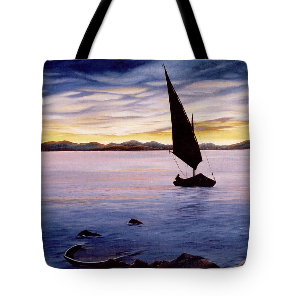 Seascape Tote Bag featuring the painting Sea Of Souls by Mark Cawood