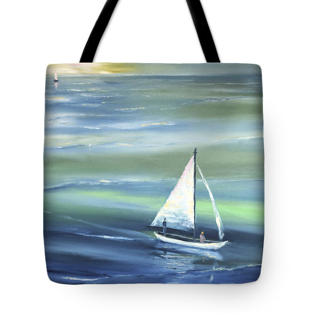 Seascape Tote Bag featuring the painting Sea Row by Vera Persiyanova