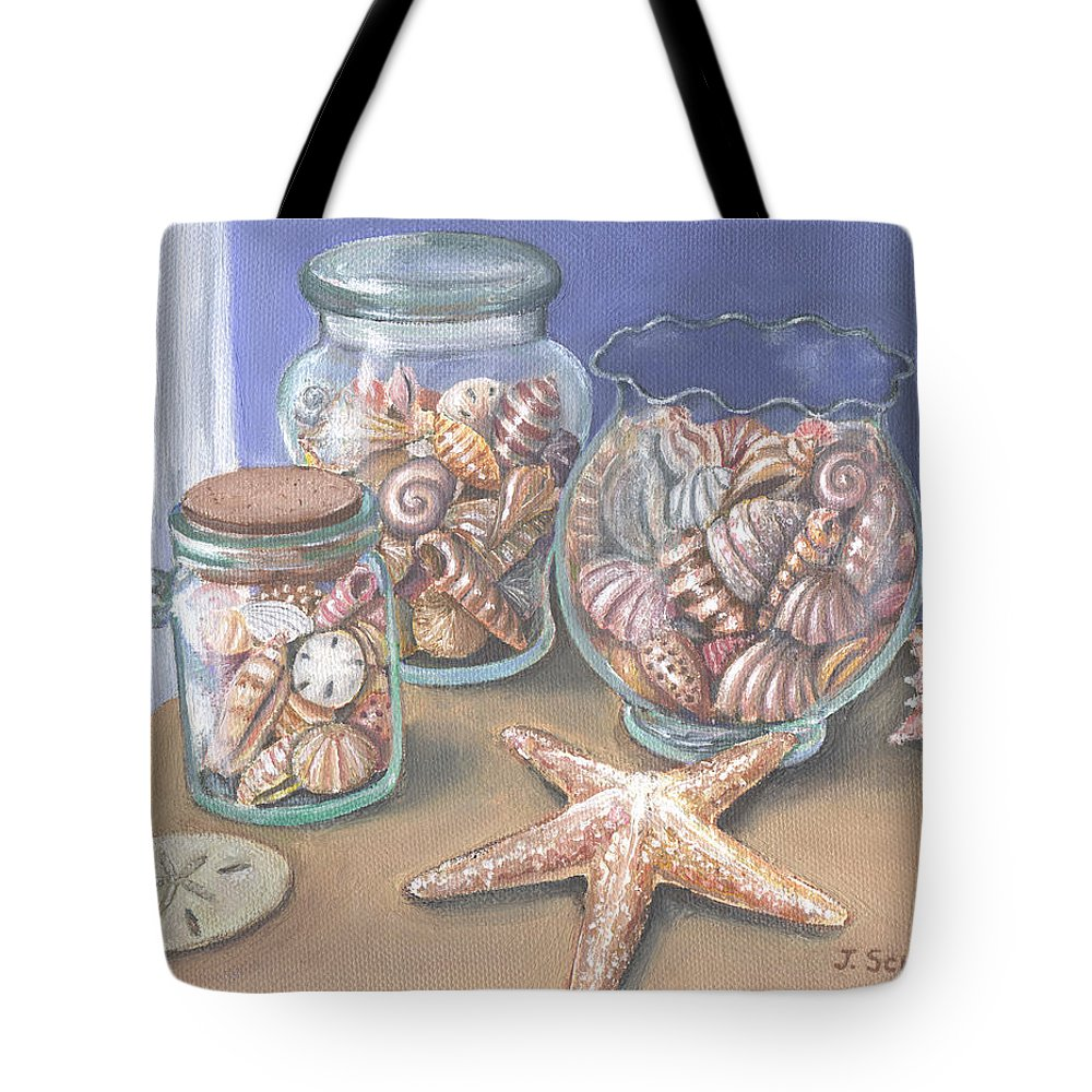 Shells Tote Bag featuring the painting Sea Shell Collection by Joseph Schilling
