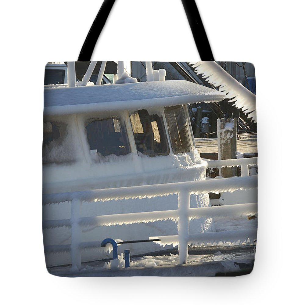 Fishing Tote Bag featuring the photograph Sea Spray Ice by Faith Harron Boudreau