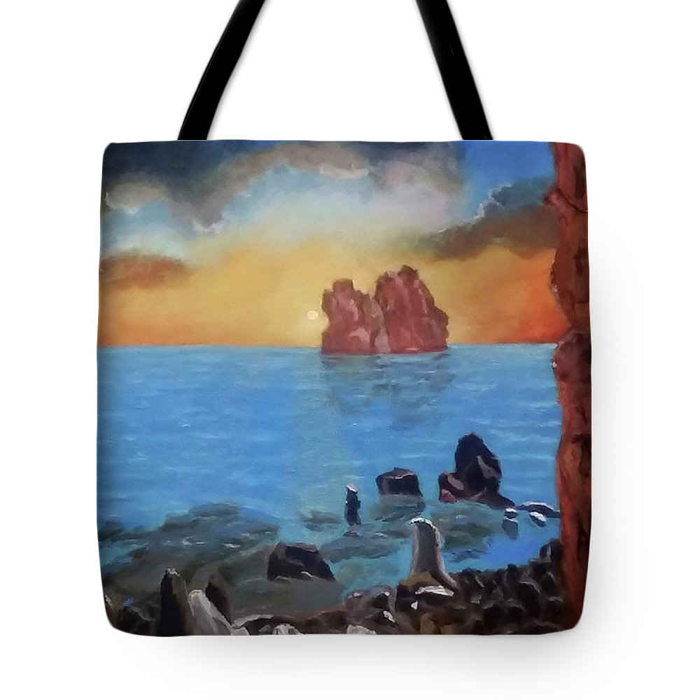 Sea Tote Bag featuring the painting Sea Sunset by Stan Hamilton