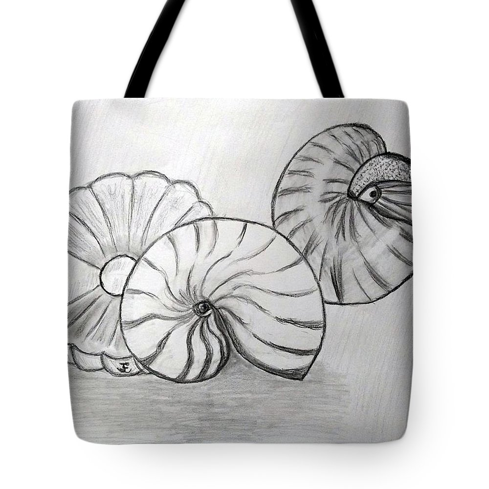 Nautilus Tote Bag featuring the drawing Sea Treasures by Janet Ledbetter-Eck