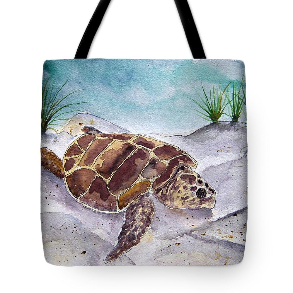 Sea Turtle Tote Bag featuring the painting Sea Turtle 2 by Derek Mccrea