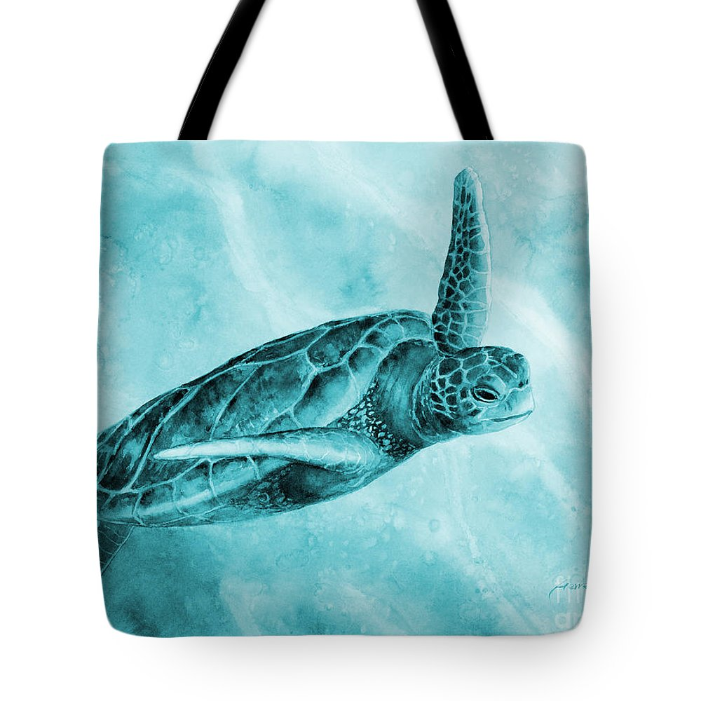 Mono Tote Bag featuring the painting Sea Turtle 2 in Blue by Hailey E Herrera
