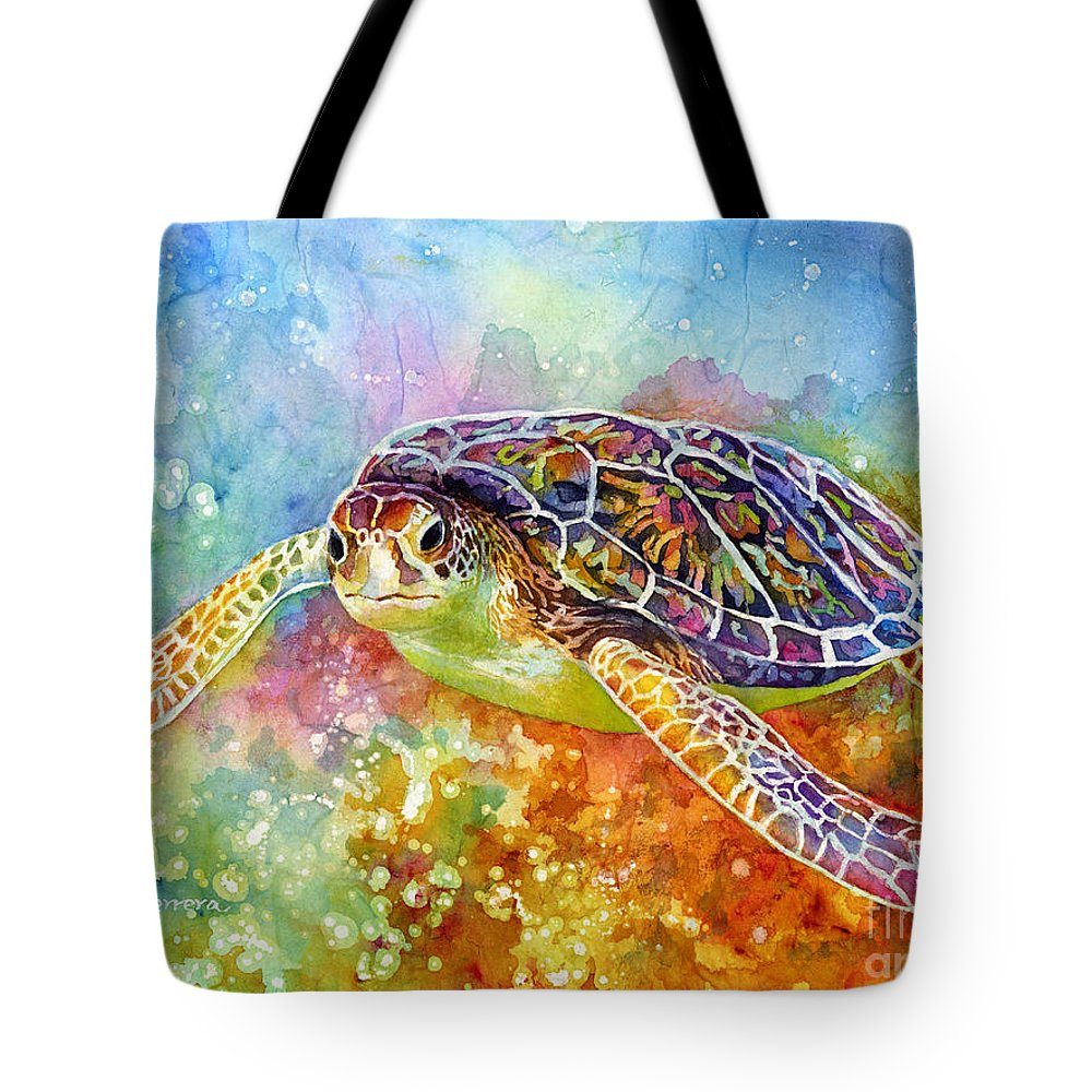 Turtle Tote Bag featuring the painting Sea Turtle 3 by Hailey E Herrera