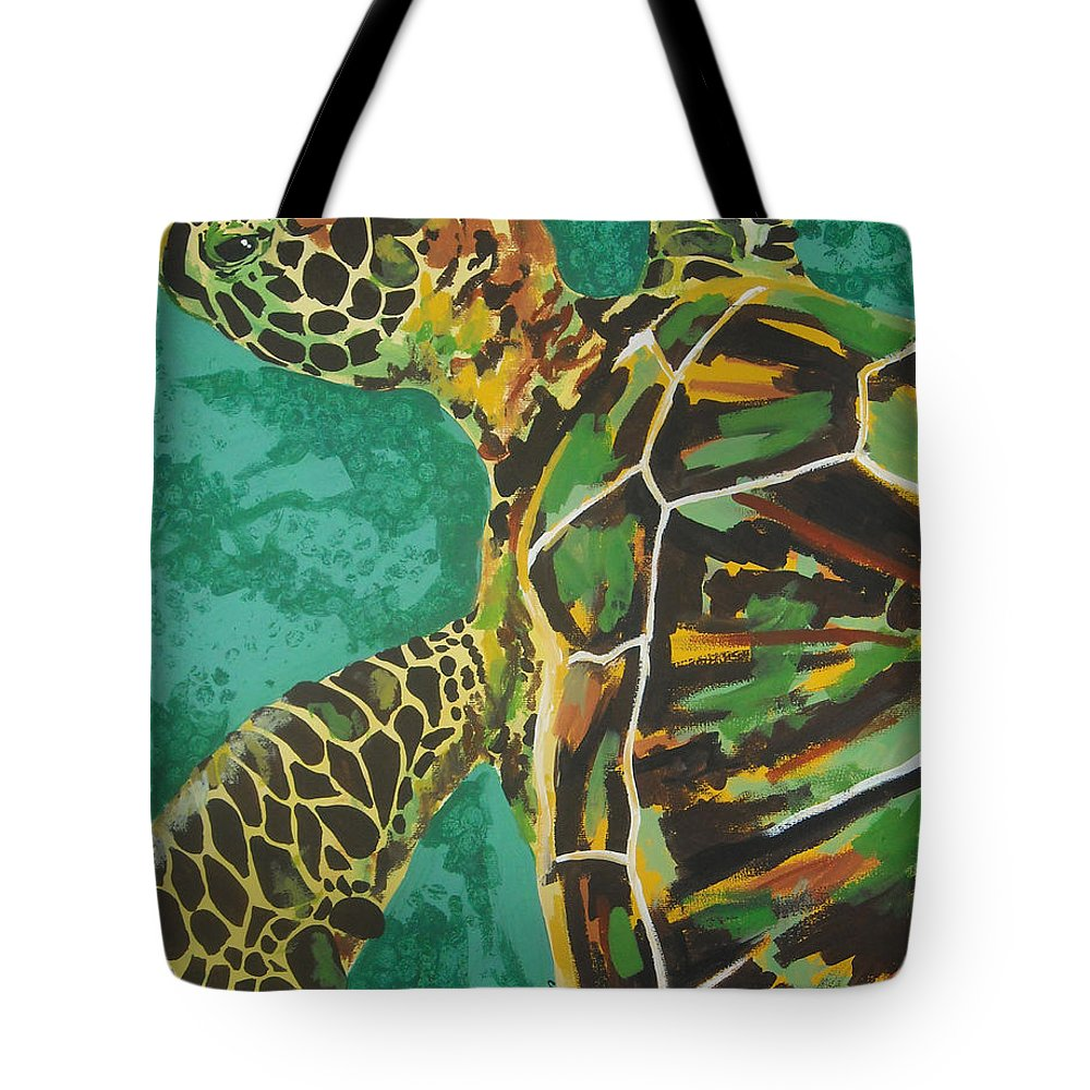 Turtle Tote Bag featuring the painting Sea Turtle by Caroline Davis