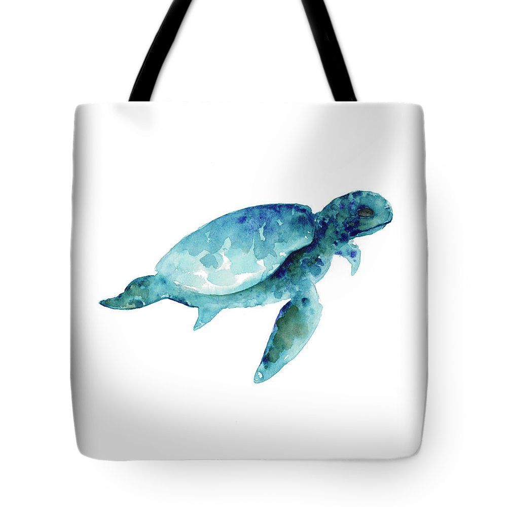 Prints Tote Bag featuring the painting Sea Turtle Wall Art Print, Abstract Sea Animals Nursery Wall Art by Joanna Szmerdt