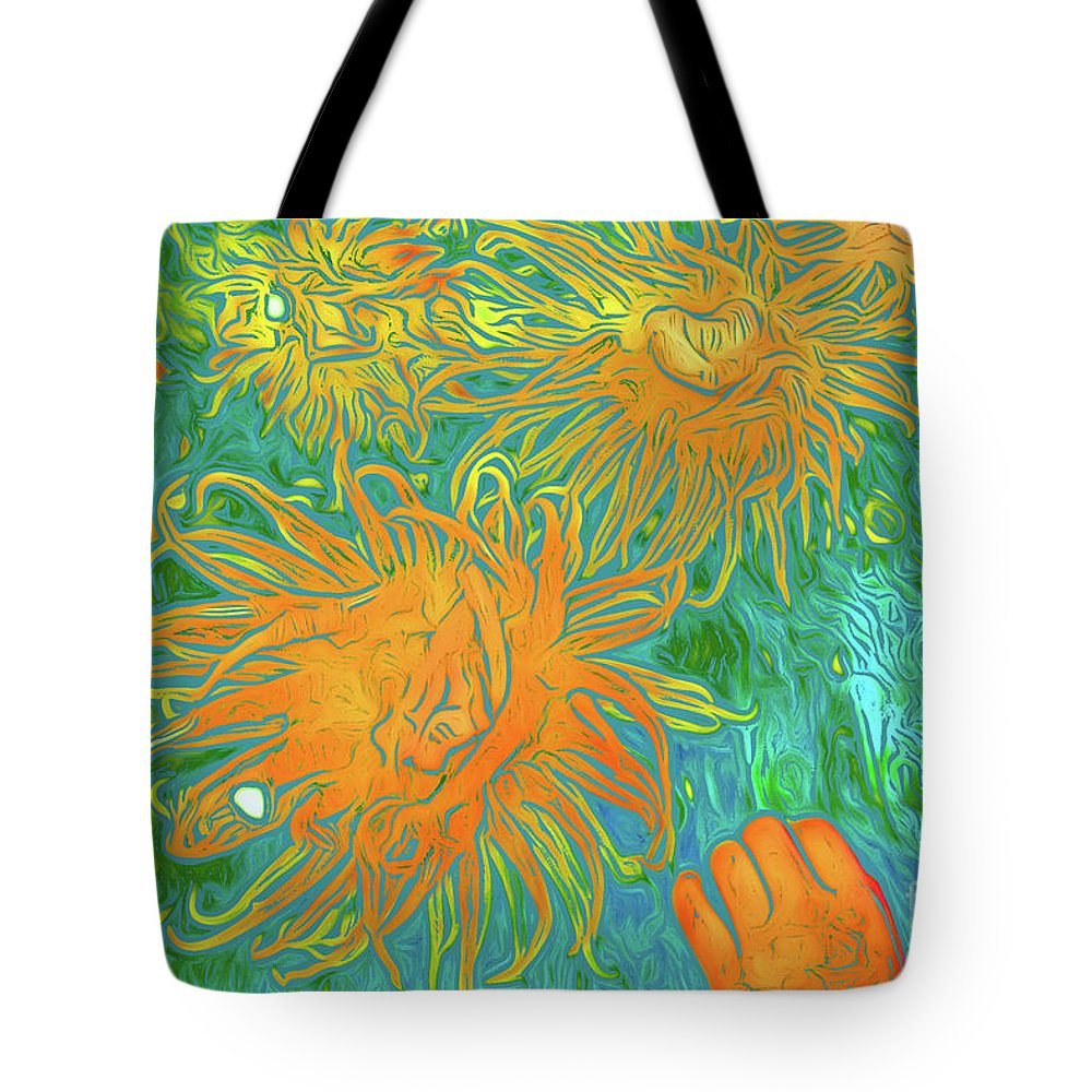 Sea Urchin 10 Tote Bag featuring the digital art Sea Urchin 10 by Chris Taggart