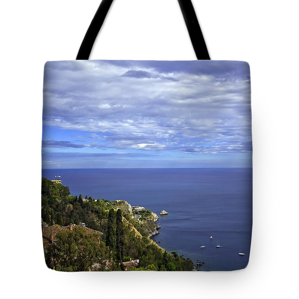Landscape Tote Bag featuring the photograph Sea View From Taormina by Madeline Ellis