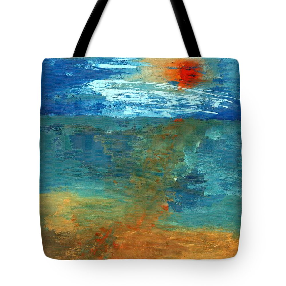 Colour Tote Bag featuring the painting Sea Was by Wojtek Kowalski