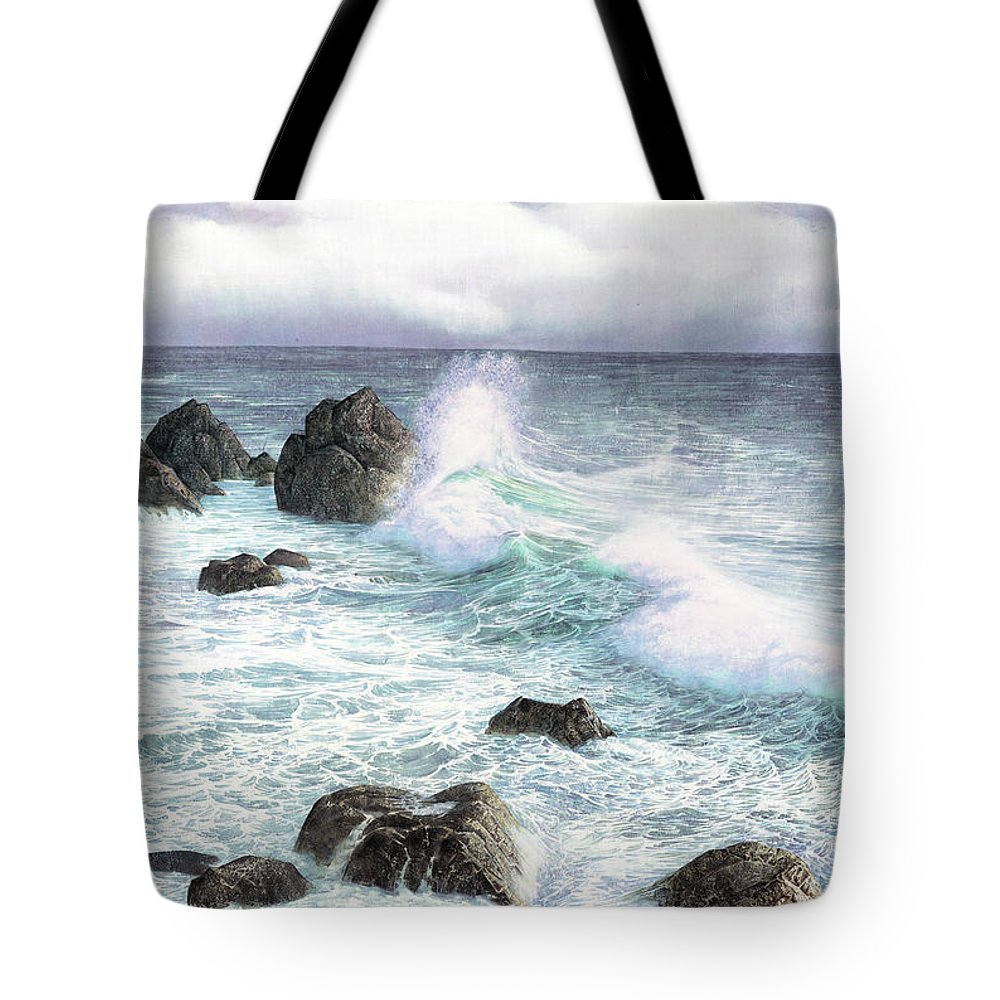 Sea Wave Tote Bag featuring the painting Sea Wave by Song Di