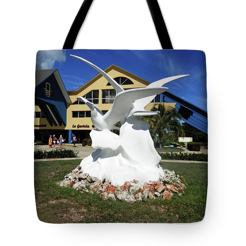Statue Tote Bag featuring the photograph Seabird Statue by Pema Hou