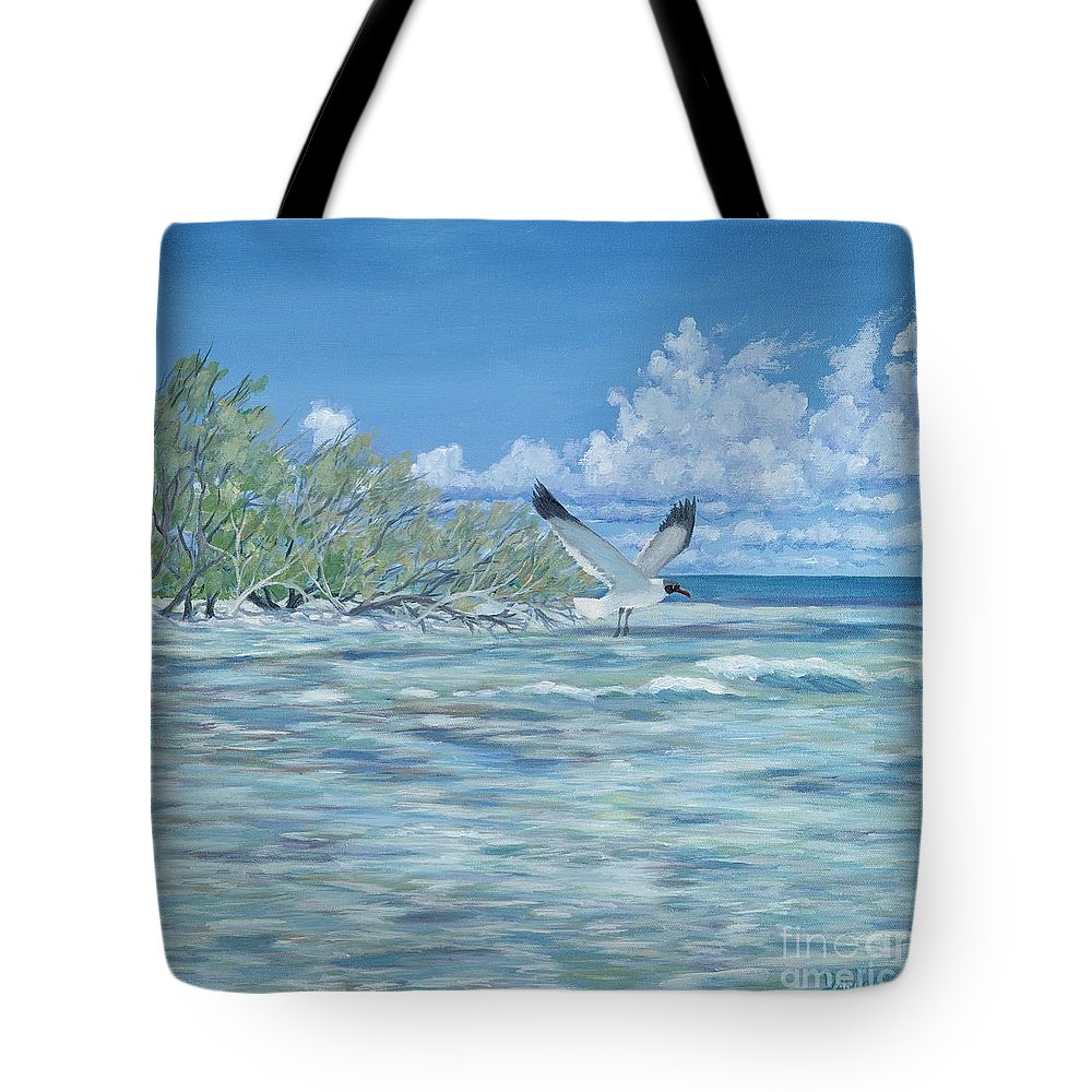 Seascape Tote Bag featuring the painting Seablue by Danielle Perry