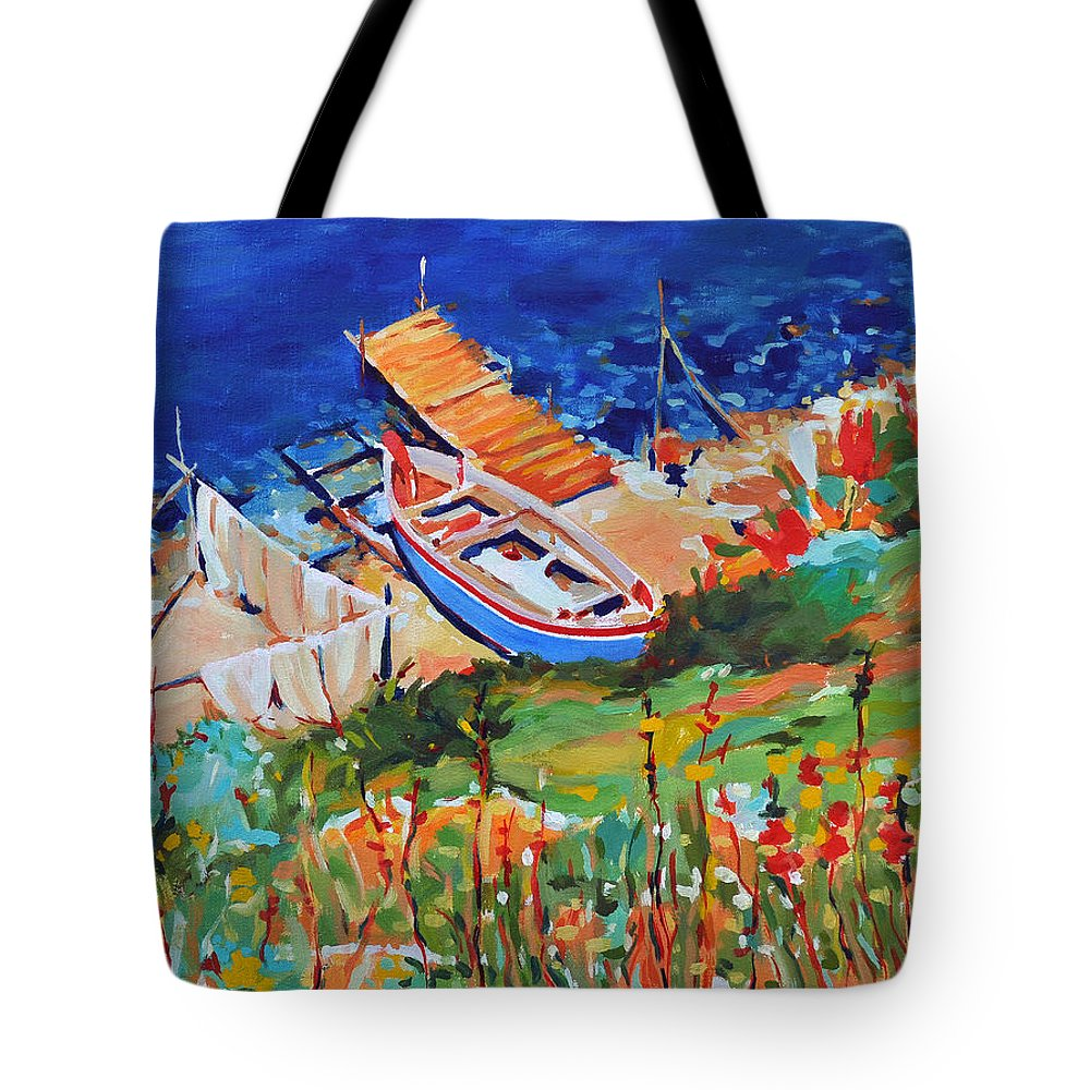 Seascape Tote Bag featuring the painting Seacoast by Iliyan Bozhanov