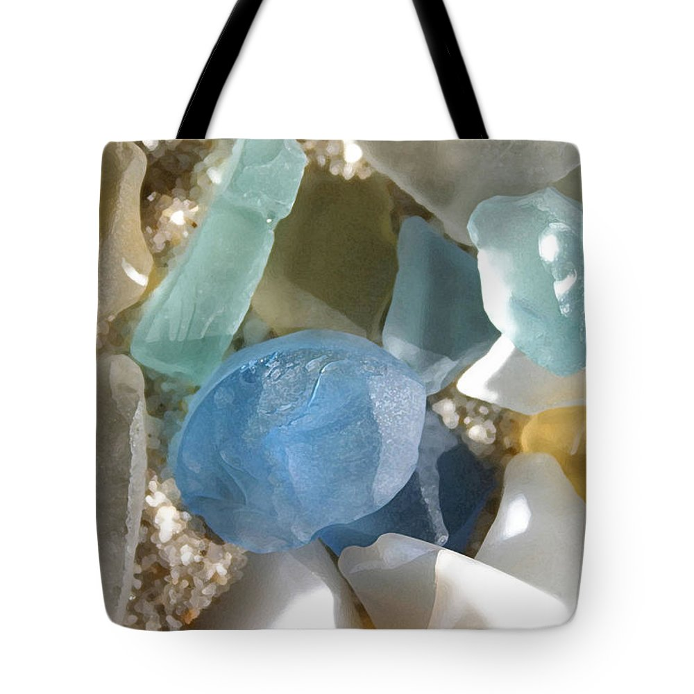 Seaglass Tote Bag featuring the photograph Seaglass by Mary Haber