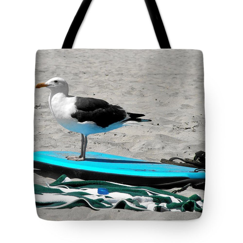 Bird Tote Bag featuring the photograph Seagull On A Surfboard by Christine Till
