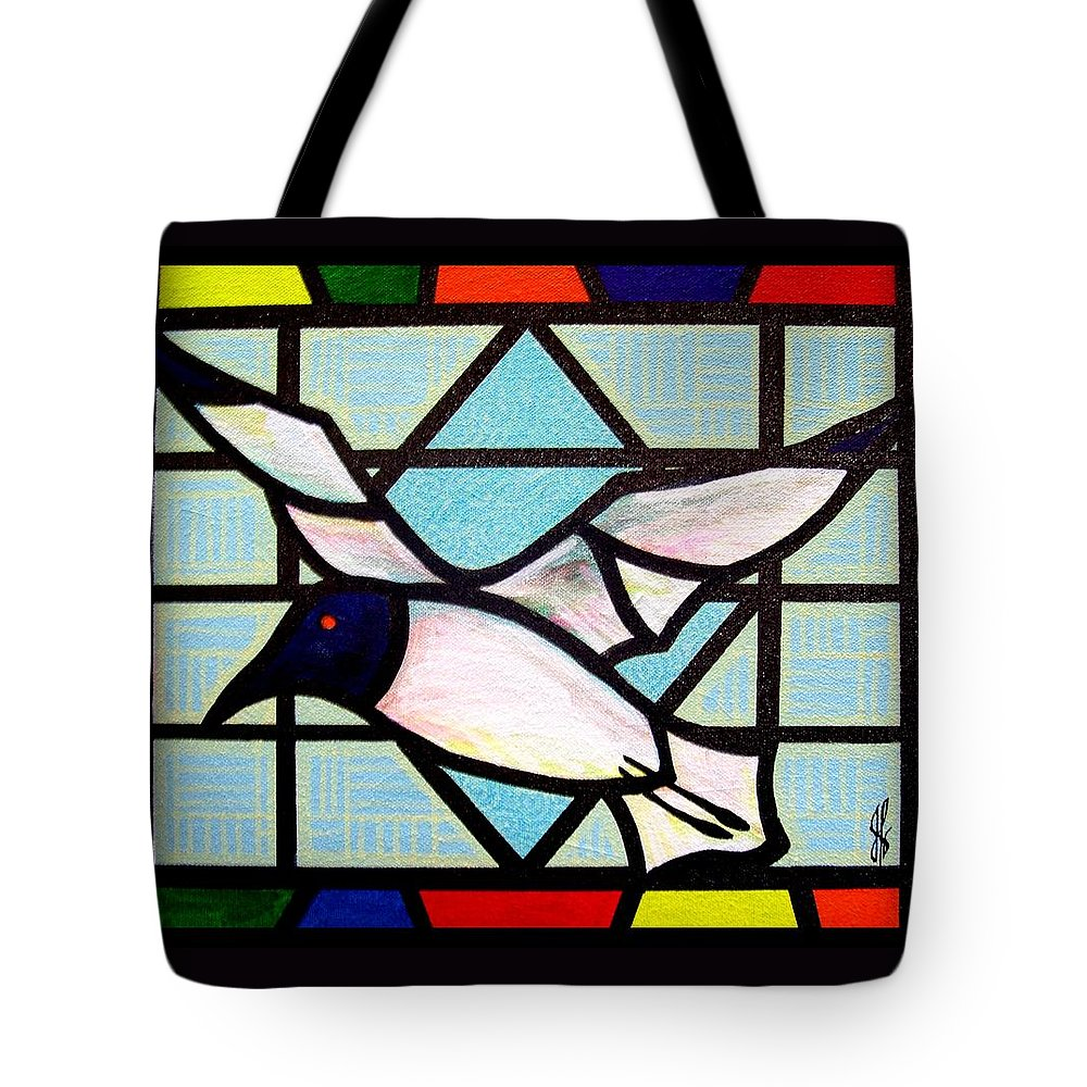 Seagull Tote Bag featuring the painting Seagull Serenade by Jim Harris