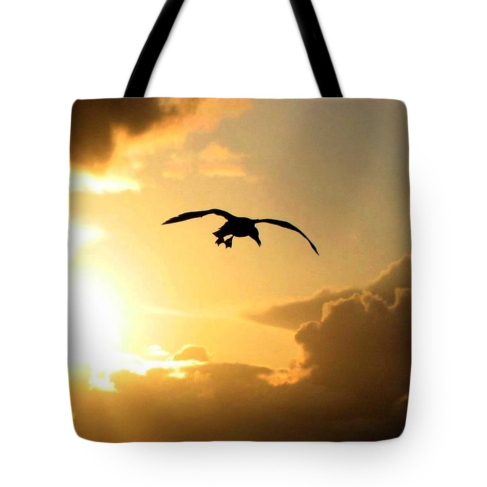 Seagull Tote Bag featuring the photograph Seagull Silhouette by Will Borden