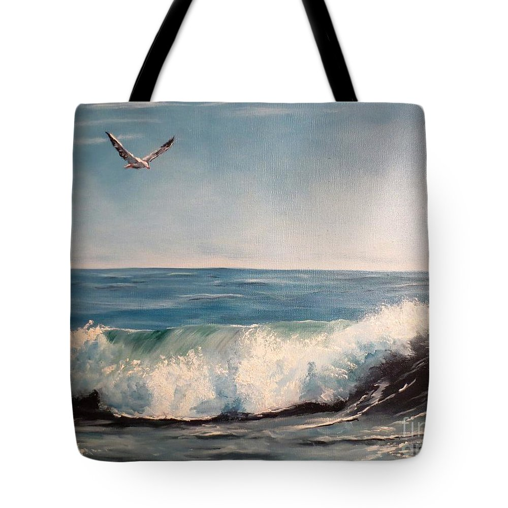 Ocean Tote Bag featuring the painting Seagull With Wave by Lee Piper