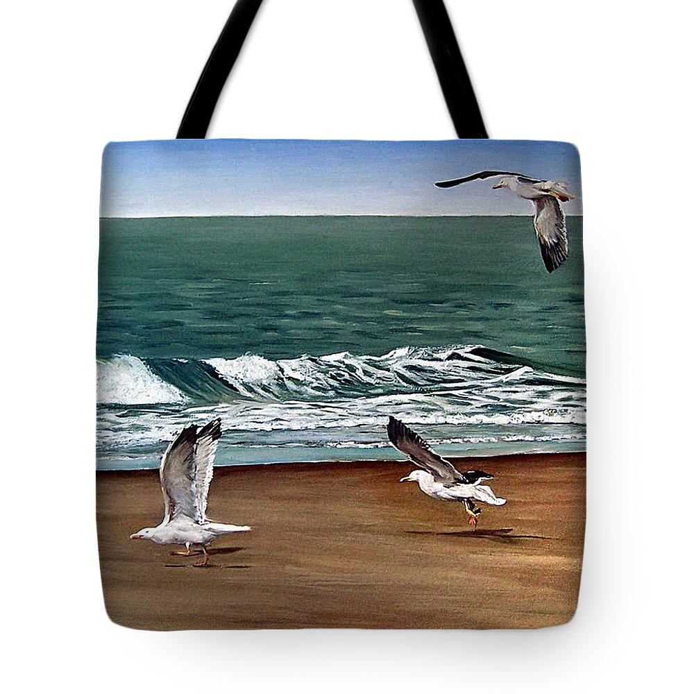 Seascape Tote Bag featuring the painting Seagulls 2 by Natalia Tejera