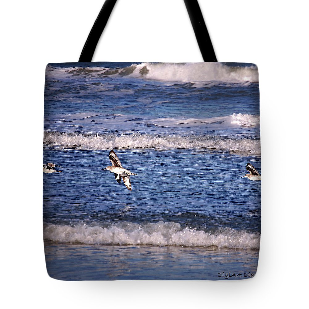 Seagulls Tote Bag featuring the digital art Seagulls Above The Seashore by DigiArt Diaries by Vicky B Fuller