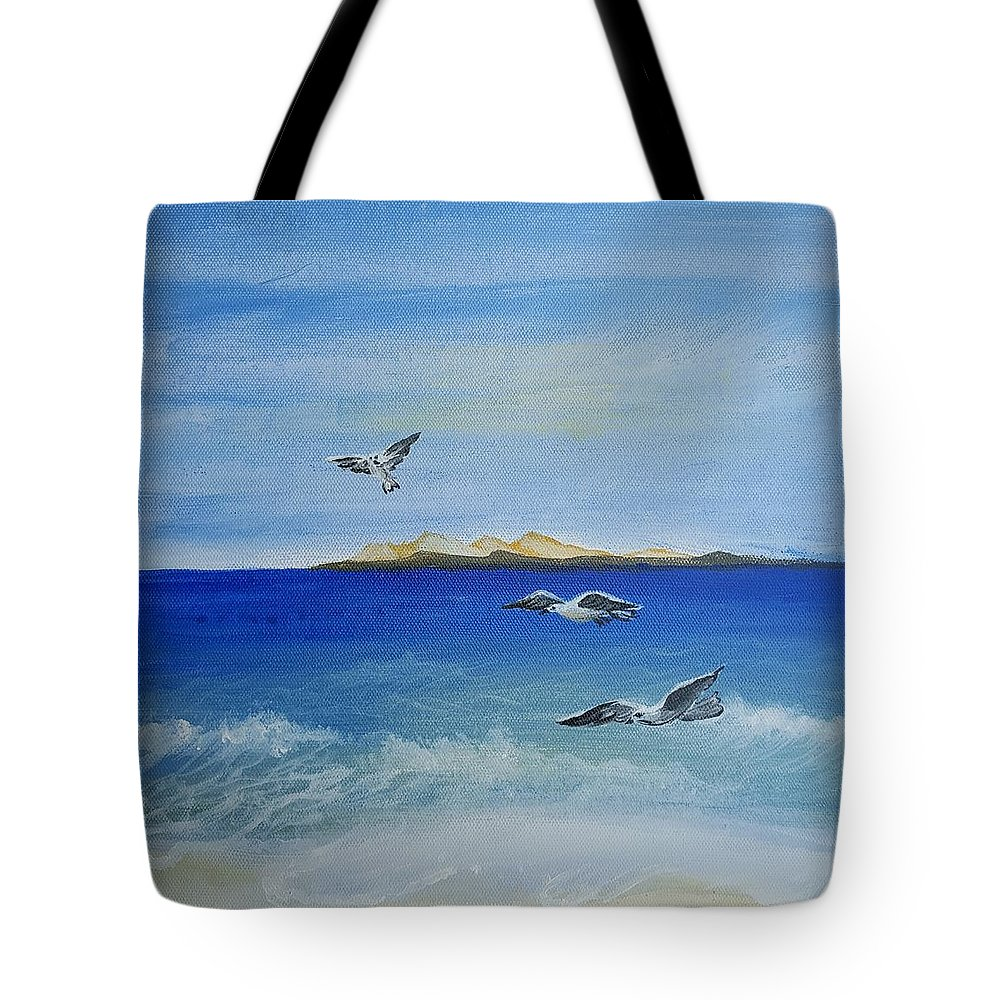 Seagull Tote Bag featuring the painting Seagulls By The Sea by Magi Hosney Ezzat Naguib Mikhael