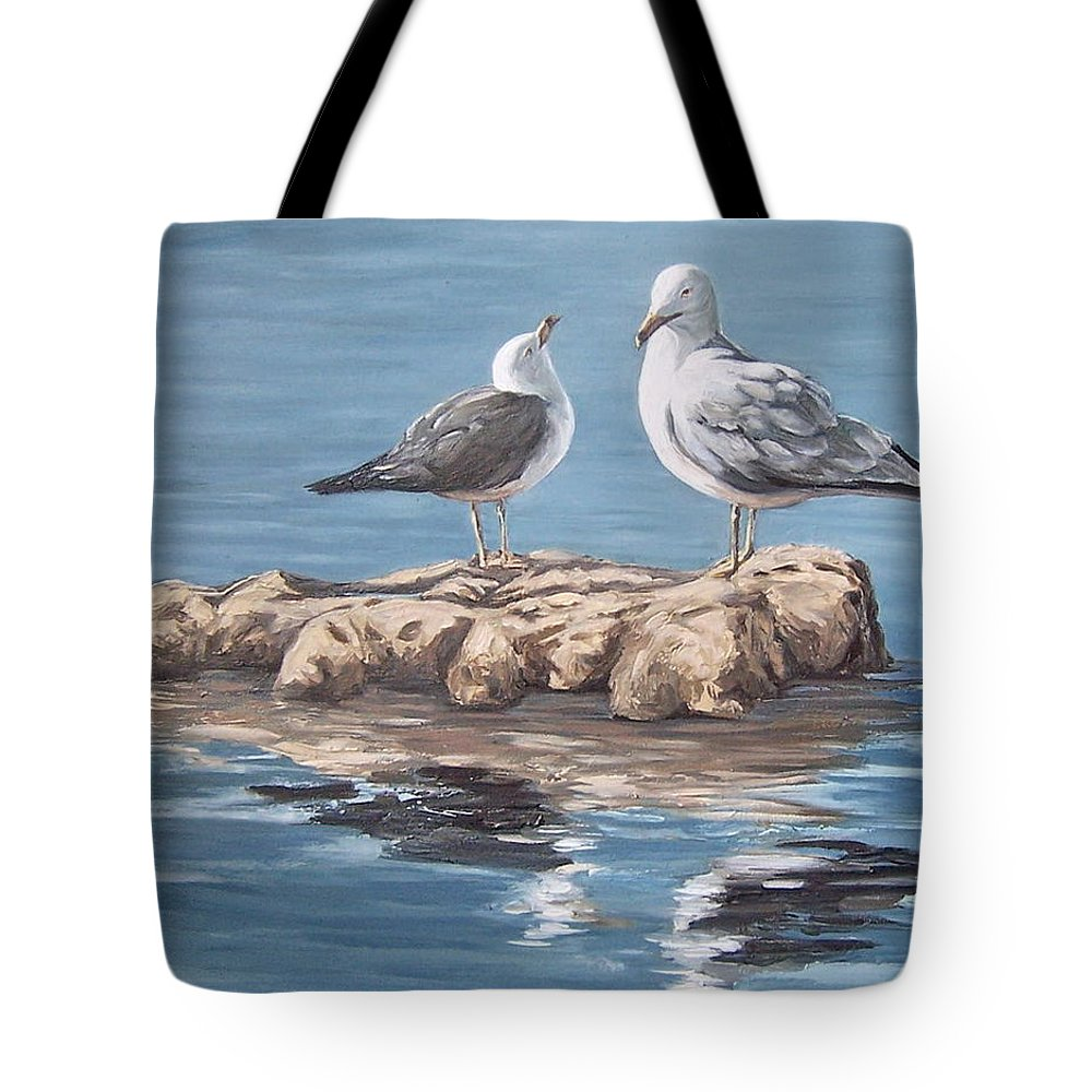 Seagulls Sea Seascape Water Bird Tote Bag featuring the painting Seagulls In The Sea by Natalia Tejera