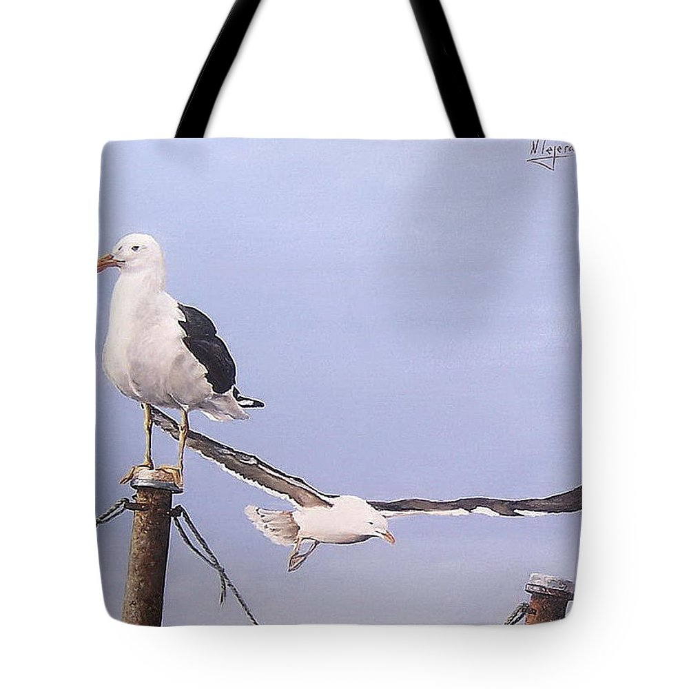Seascape Gulls Bird Sea Tote Bag featuring the painting Seagulls by Natalia Tejera