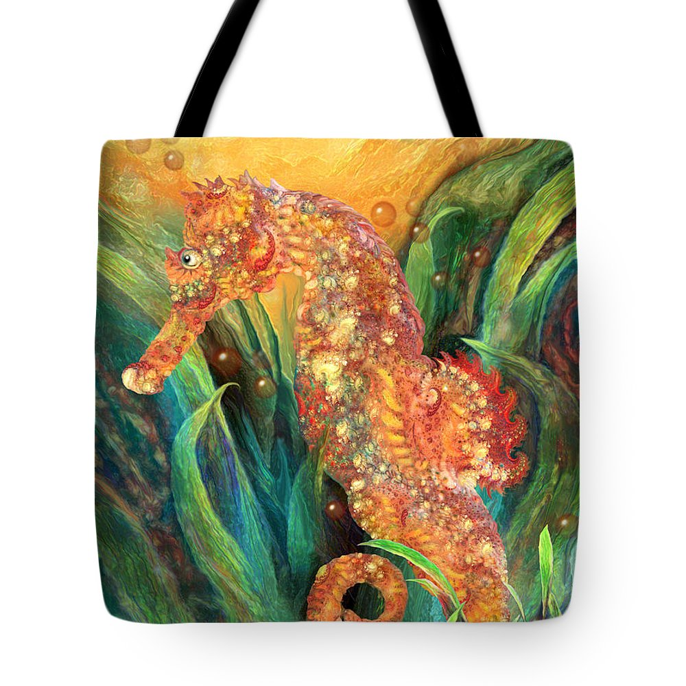 Carol Cavalaris Tote Bag featuring the mixed media Seahorse - Spirit Of Contentment by Carol Cavalaris