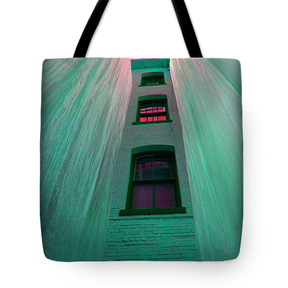 Architecture Tote Bag featuring the photograph Sealed In Plastic by Deborah Napelitano