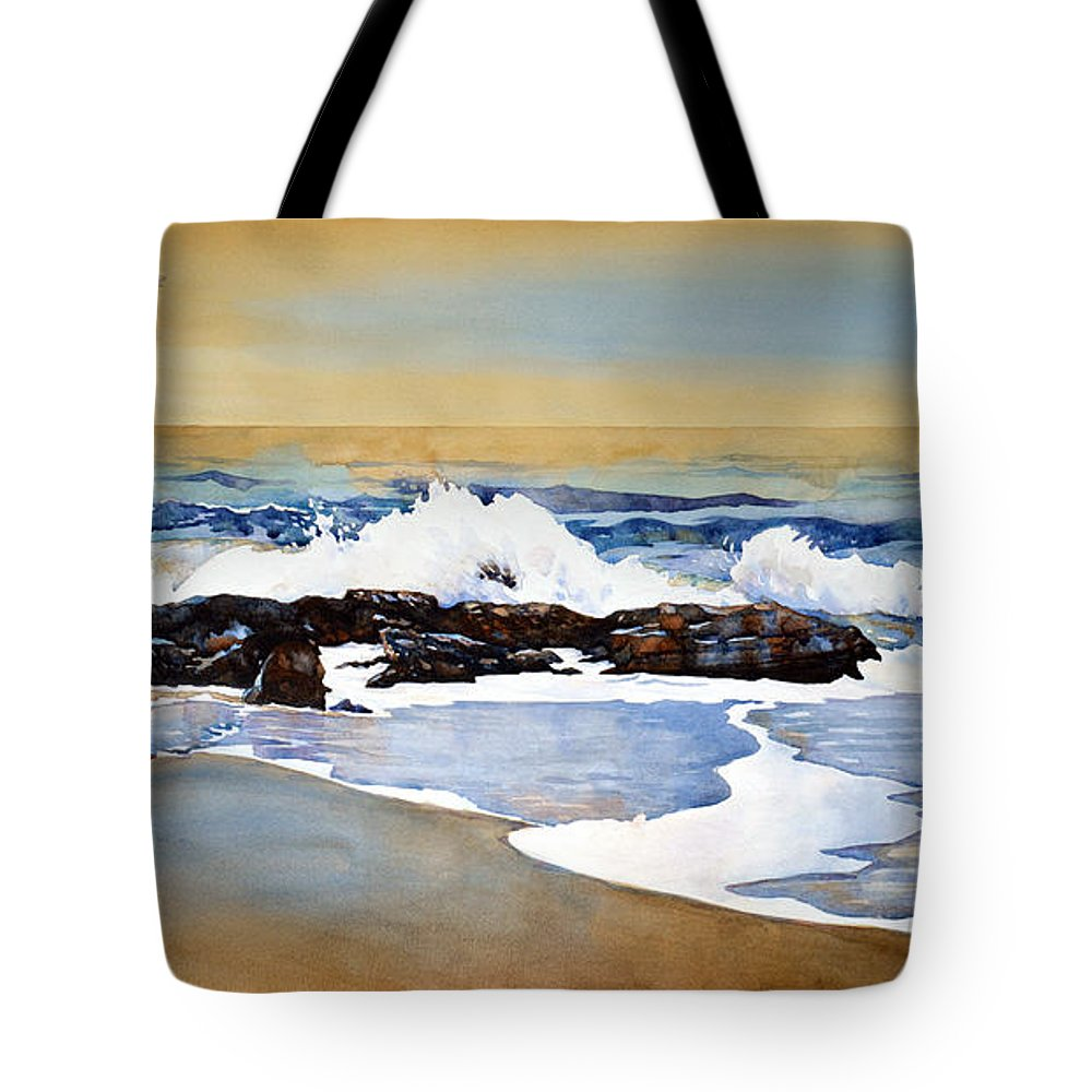 Watercolor Tote Bag featuring the painting Seamist by Mick Williams