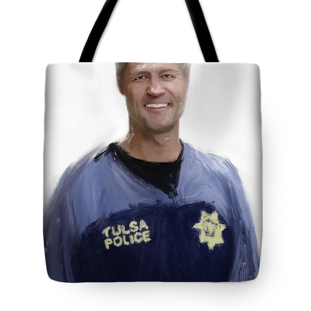 Live Pd Tote Bag featuring the painting Sean Sticks Larkin by Jack Bunds