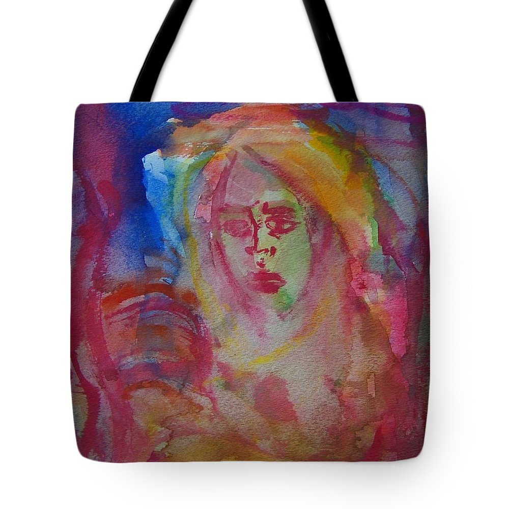 Abstract Tote Bag featuring the painting Searching For Self by Judith Redman