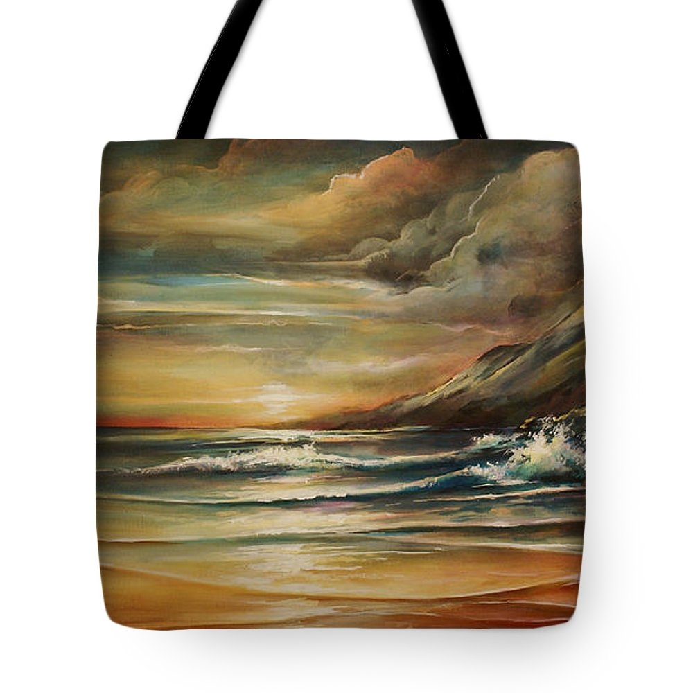 Seascape Tote Bag featuring the painting Seascape 3 by Michael Lang