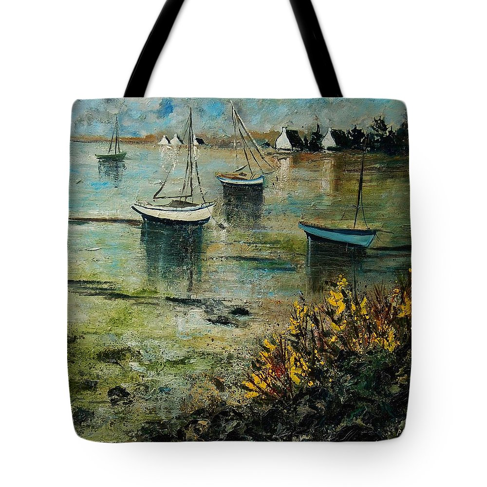 Seascape Tote Bag featuring the print Seascape 78 by Pol Ledent