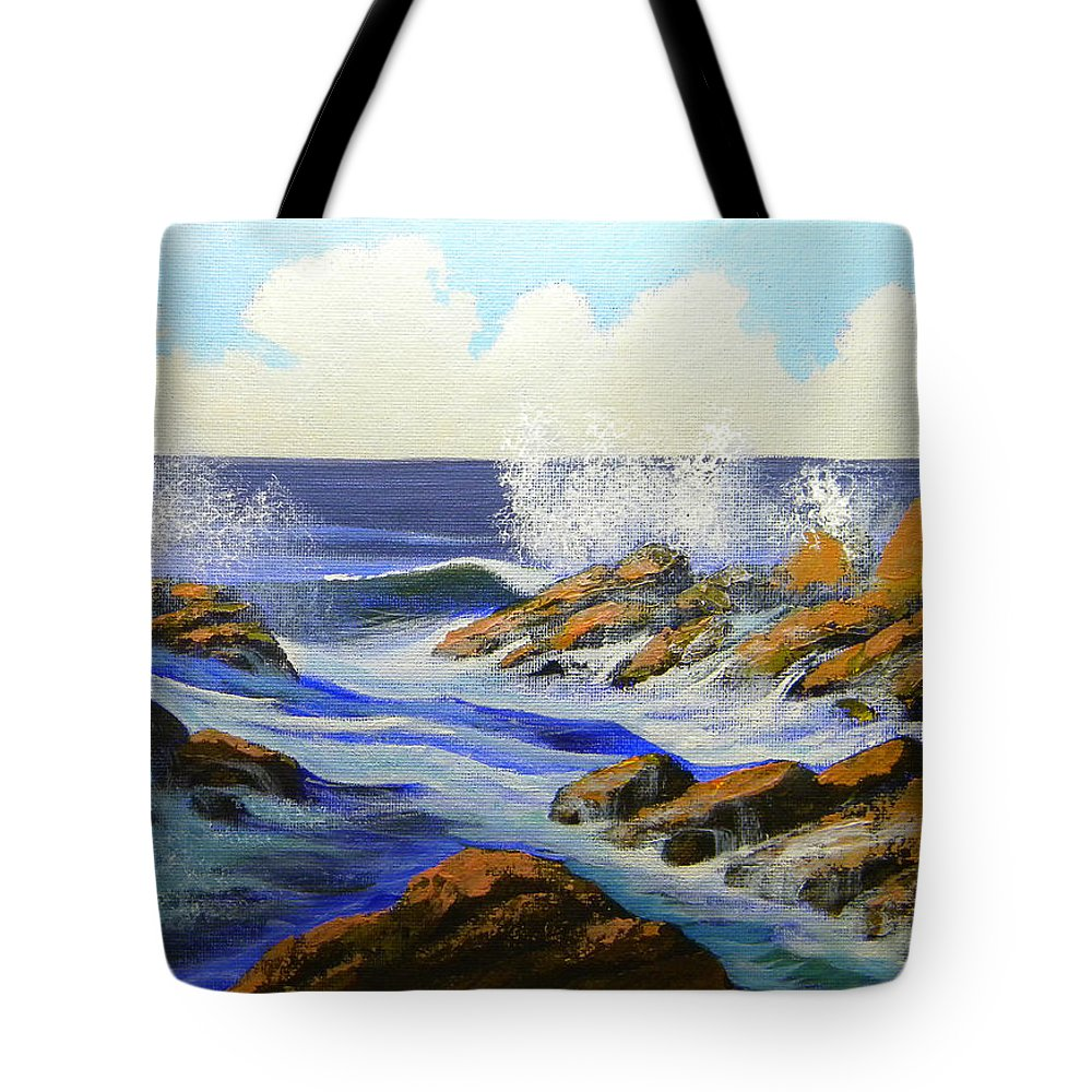 Seascape Tote Bag featuring the painting Seascape Study 2 by Frank Wilson