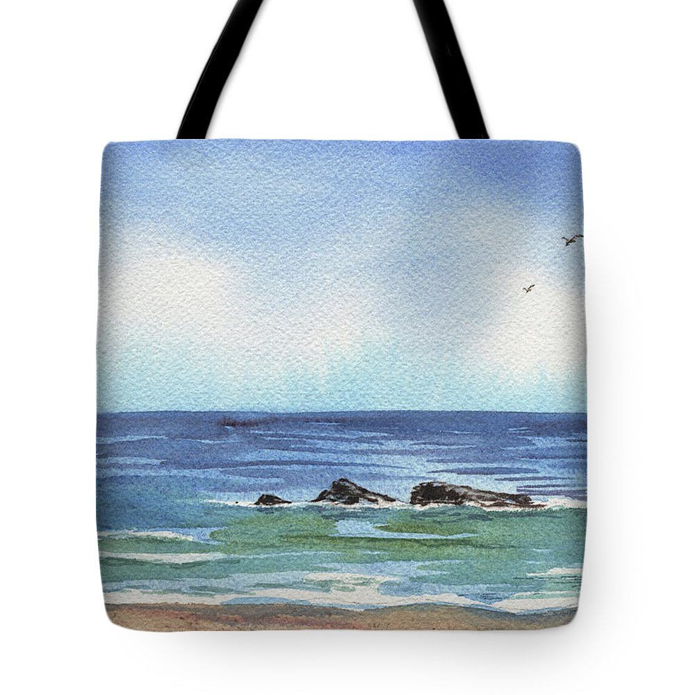 Seascape With Three Rocks Tote Bag featuring the painting Seascape With Three Rocks by Irina Sztukowski